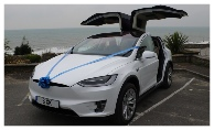 Tesla Wedding Car with the Gull Wing Doors raised
